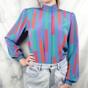✨VTG✨ 80s High Neck Colorblock Striped Blouse